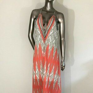 Hale Bob Maxi Orange Combo Dress Sleeveless Size M